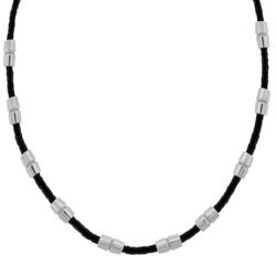 Stainless Steel Black Leather Necklace