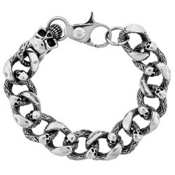 Stainless Steel Men's Skull Chunky Chain Bracelet