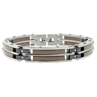 Chocolate-plated Steel 1/6ct TDW Diamond Bracelet (I-J, I2-I3)