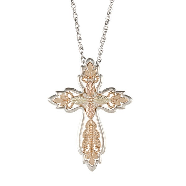 Black Hills Gold and Sterling Silver Filigree Cross Pendant