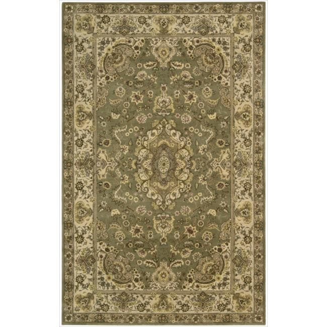 Nourison 2000 Hand-Tufted Persian-Inspired Tabriz Green Rug (2' x 3)