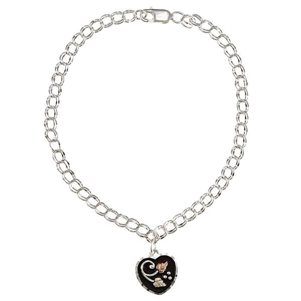 Black Hills Gold and Sterling Silver Heart Dangle Bracelet