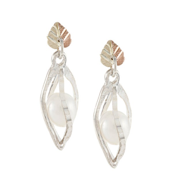 Black Hills Gold and Sterling Silver Caged Pearl Earrings (5.5 mm)