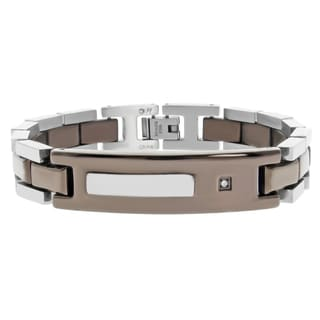 Chocolate-plated Steel Diamond Accent Link Bracelet