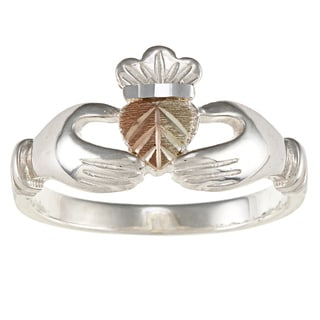 Black Hills Gold and Sterling Silver Mens Claddagh Ring