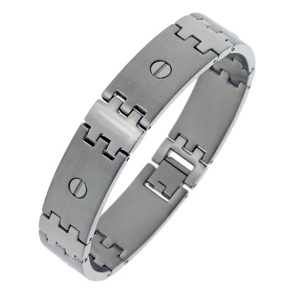 Stainless Steel Men's Screw Detail Link Bracelet
