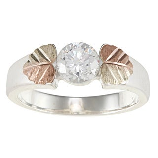 Black Hills Gold and Sterling Silver Cubic Zirconia Ring