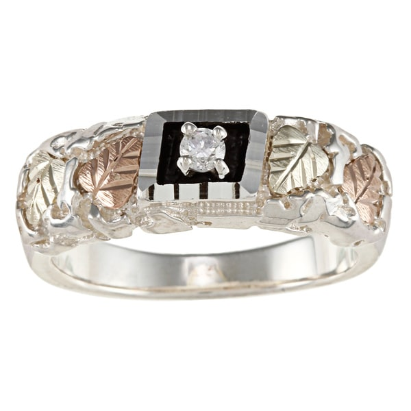 Black Hills Gold and Sterling Silver Mens Cubic Zirconia Band