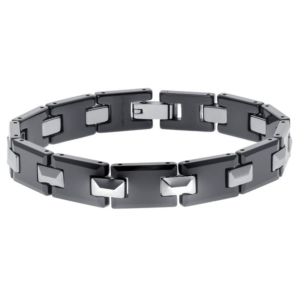 Tungsten and Ceramic Men's Link Bracelet