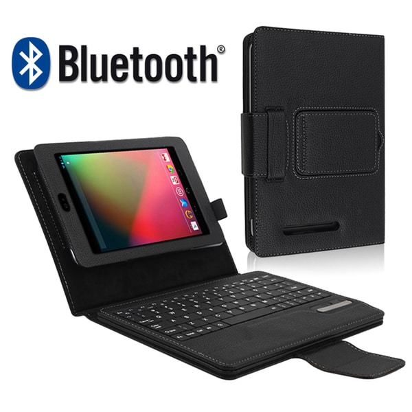 BasAcc Leather Case Stand with Bluetooth Keyboard for Google Nexus 7