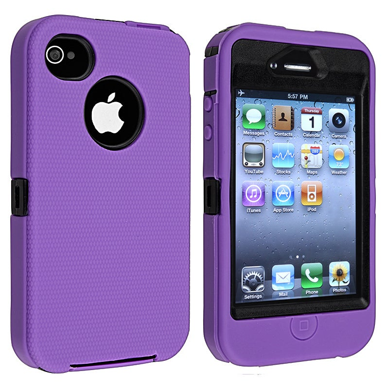 INSTEN Black Hard Plastic/ Purple Skin Hybrid Phone Case Cover for Apple iPhone 4/ 4S