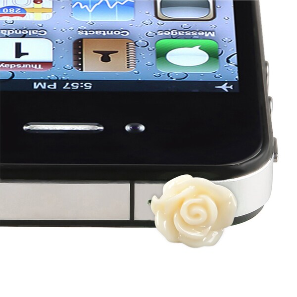 INSTEN Beige Rose Headset Dust Cap for Apple iPhone 4S/ 4/ 5C/ 5/ 5S/ 6/ iPod
