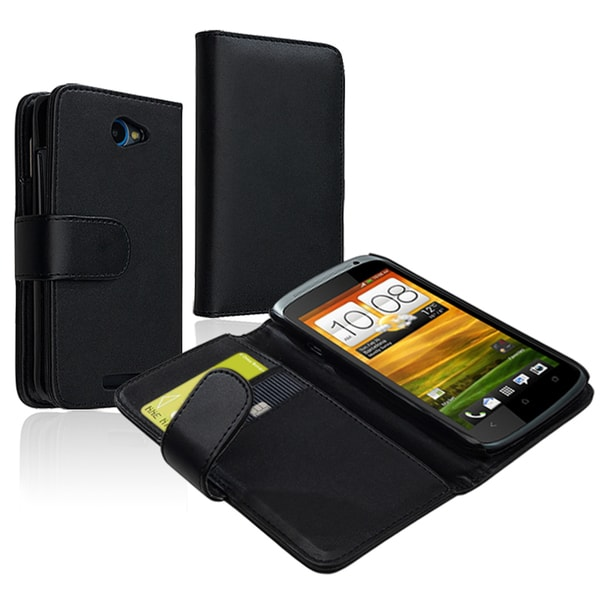 INSTEN Black Leather Wallet Phone Case Cover with Card Holder for HTC One S