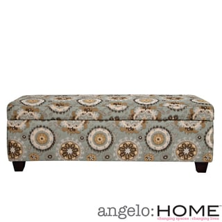 angelo:HOME Kent Vintage Tapestry Blue Wall Hugger Trunk Storage Ottoman