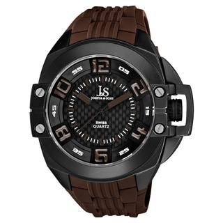 Joshua & Sons Brown Men's Swiss Quartz Silicon Strap Crown Guard Watch