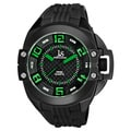 Joshua & Sons Black Men's Swiss Quartz Silicon Strap Crown Guard Watch