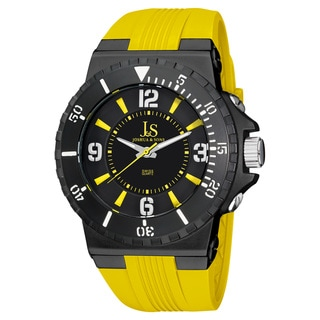 Joshua & Sons Men's Bold Swiss Quartz Silicon Strap Watch with Tang Buckle Clasp