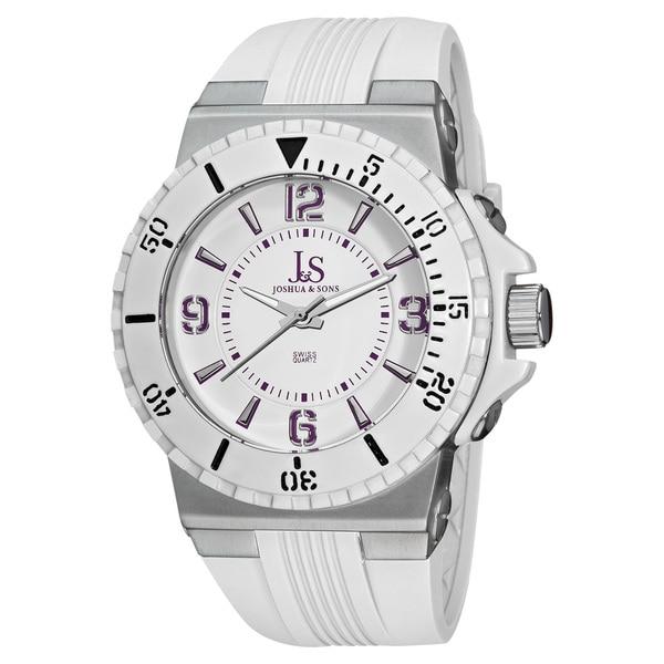 Joshua & Sons Men's Bold Swiss Quartz White Strap Watch 9789471