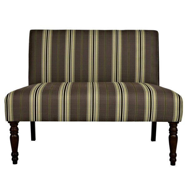 angelo:HOME Bradstreet Modern Classic Stripe Java Brown Upholstered Armless Settee