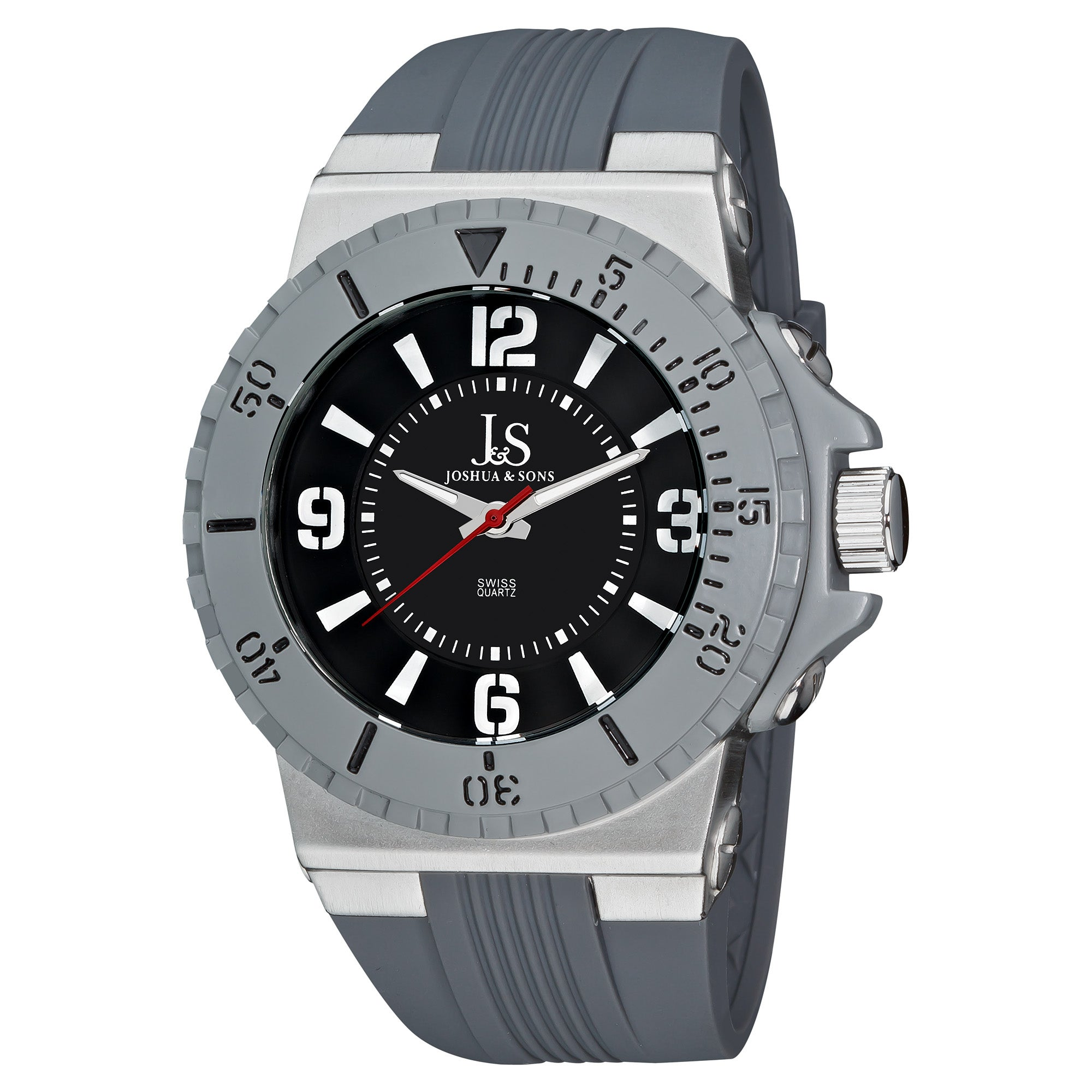 Joshua & Sons Men's Bold Swiss Quartz Silicon Strap Round Watch