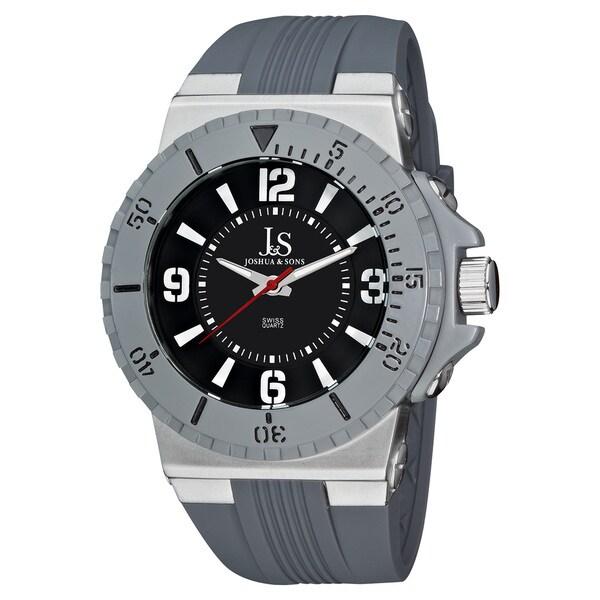 Joshua & Sons Men's Bold Swiss Quartz Grey Strap Round Watch