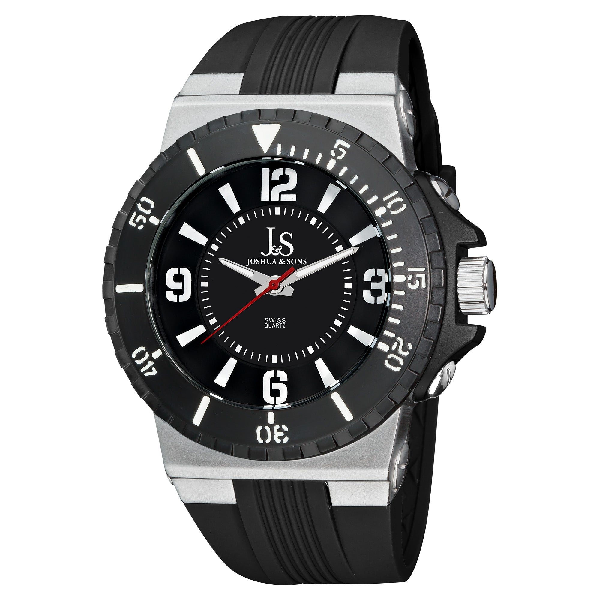 Joshua & Sons Men's Bold Swiss Quartz Water-Resistant Silicon Strap Watch
