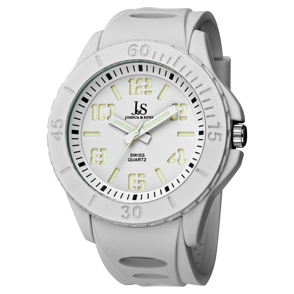Joshua & Sons Men's White Silicon Luminous Swiss Quartz Sport Watch