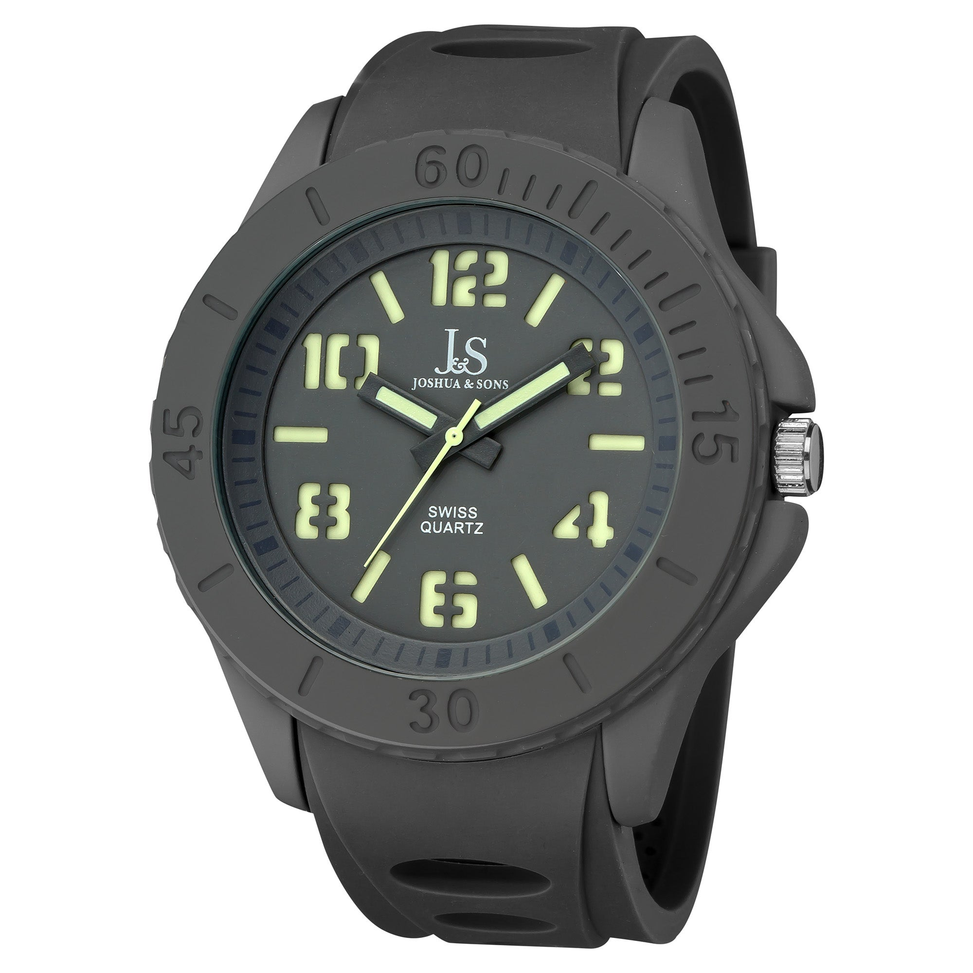 Joshua & Sons Men's Silicon Luminous Swiss Quartz Sport Watch