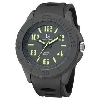 Joshua & Sons Men's Silicon Luminous Swiss Quartz Sport Watch
