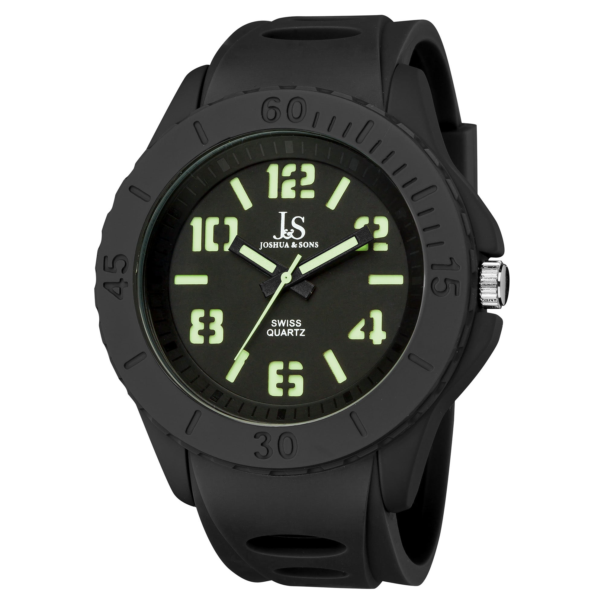 Joshua & Sons Men's Black Silicon Luminous Swiss Quartz Sport Watch