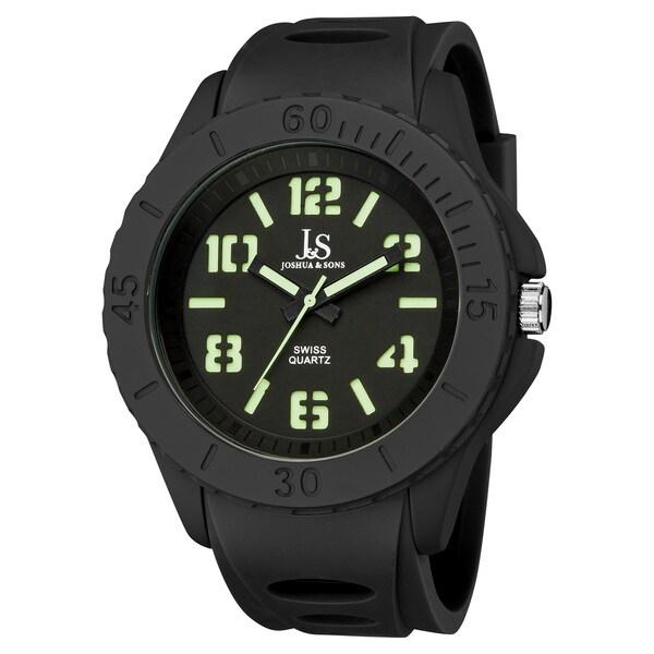 Joshua & Sons Men's Black Silicon Luminous Swiss Quartz Sport Watch