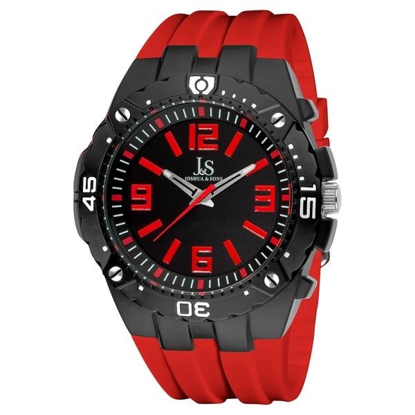 Joshua & Sons Men's Bold Swiss Quartz Red Silicon Strap Watch