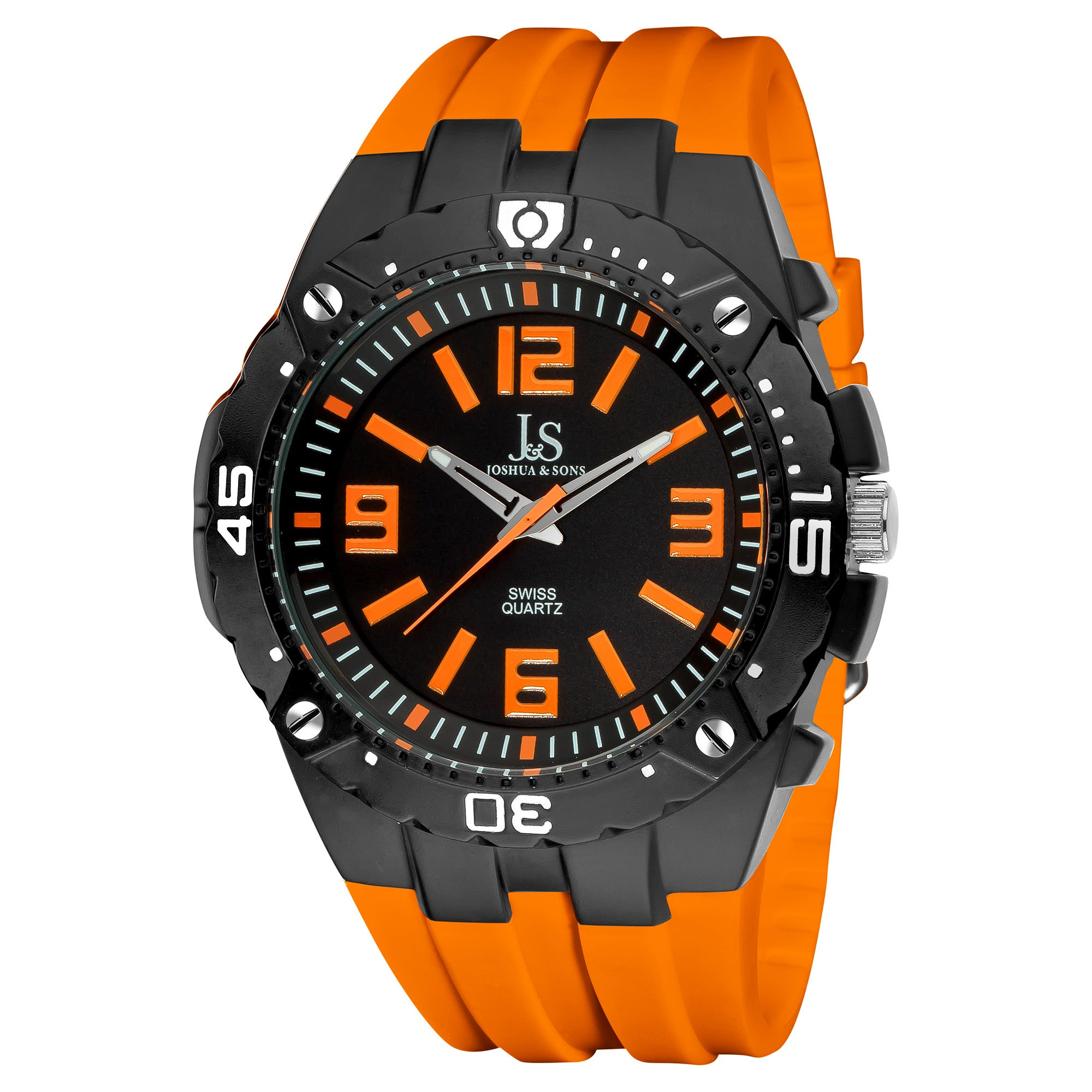 Joshua & Sons Bold Swiss Quartz Orange Silicone Strap Watch