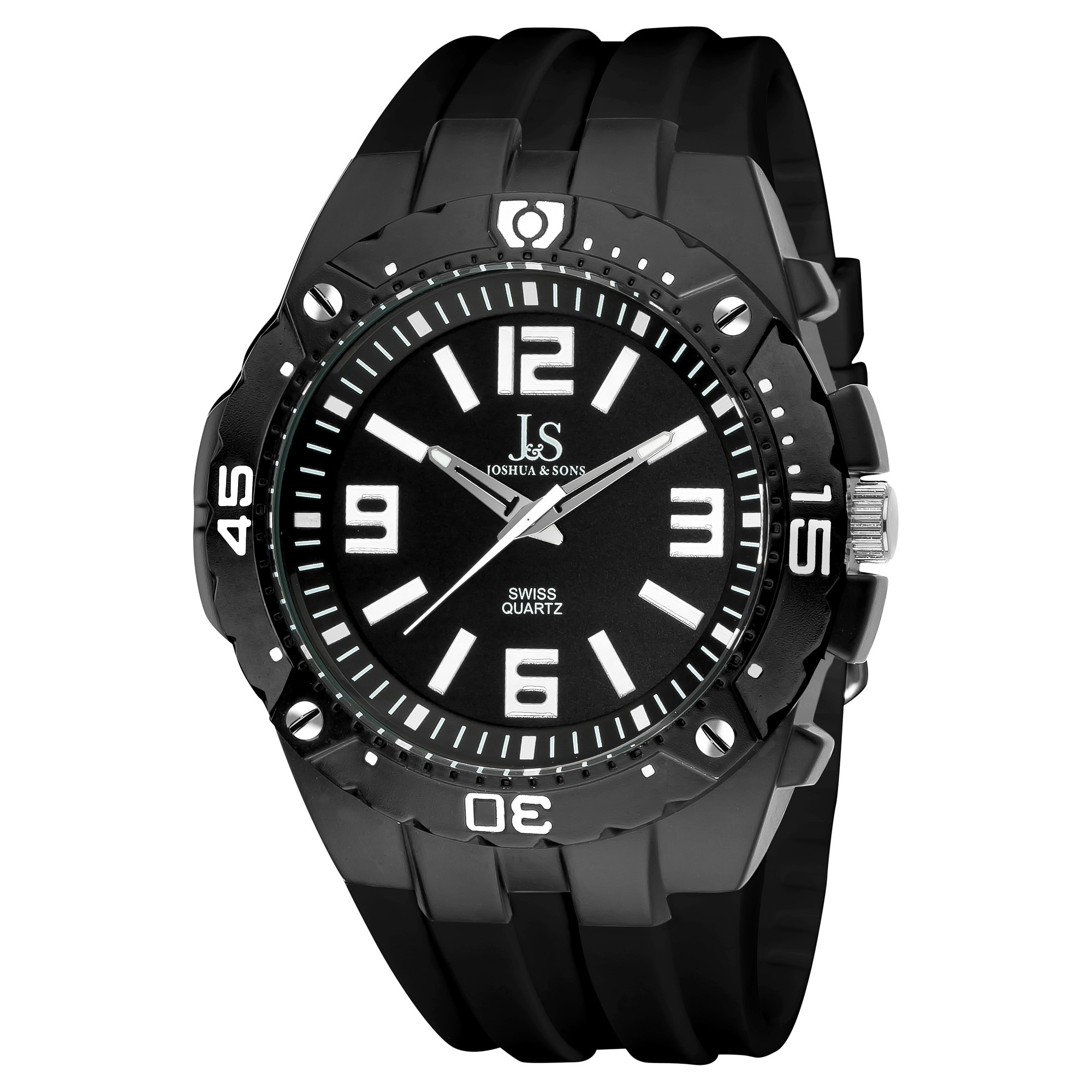 Joshua & Sons Bold Swiss Quartz Black Silicone Strap Watch