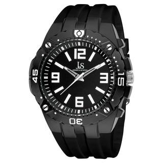 Joshua & Sons Bold Swiss Quartz Black Silicone Strap Watch