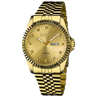 August Steiner Men's Diamond Watch with Stainless Steel Bracelet