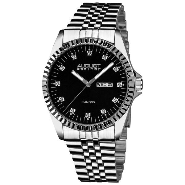 August Steiner Men's Diamond Stainless Steel Bracelet Watch