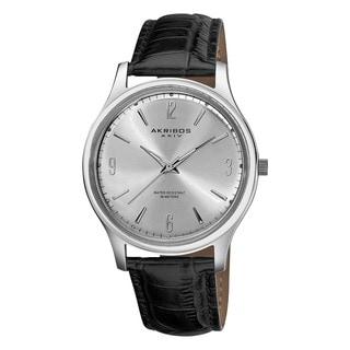 Akribos XXIV Men's Stainless Steel Swiss Quartz Leather-Silver-Tone Strap Watch