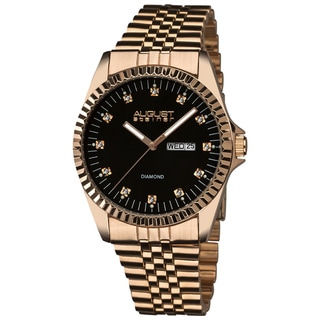 August Steiner Men's Water-resistant Diamond Stainless Steel Bracelet Watch