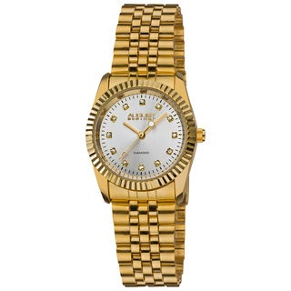 August Steiner Women's Diamond and Stainless Steel Bracelet Watch with Silver Sunray Dial