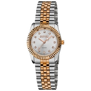 August Steiner Women's Diamond Water-resistant Stainless Steel Bracelet Watch