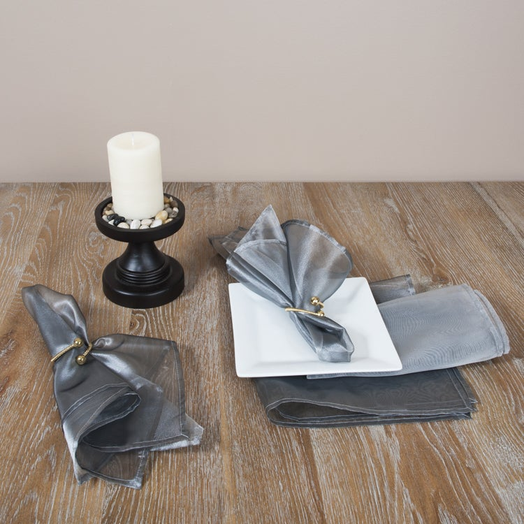 Sheer Tissue Plain Silver Napkins (Set of 4)