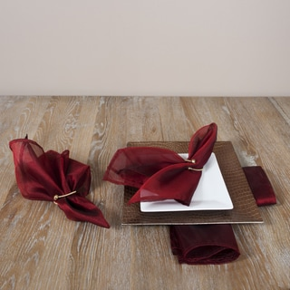 Sheer Tissue Plain Burgundy Napkins (Set of 4)