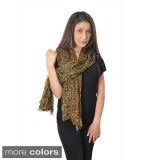 LA77 Women's Leopard Print Crinkle Scarf