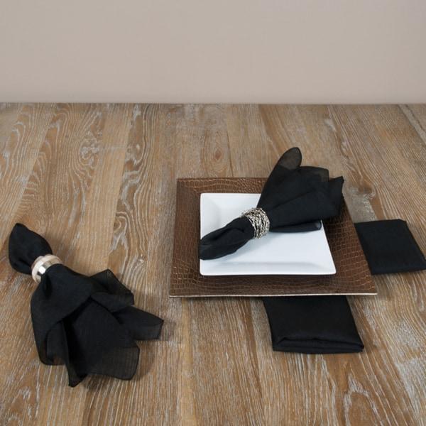 Solid Black Napkins (Set of 4)