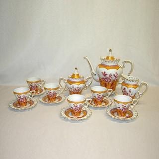 15-piece Pink Gold Floral Pot, cups and Saucers Tea Set