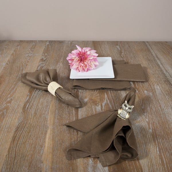 Brown with Silver Glitter Classic Napkins (Set of 4)