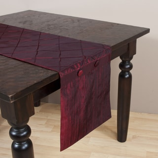 Diamond Pin Tuck Burgundy Table Runner