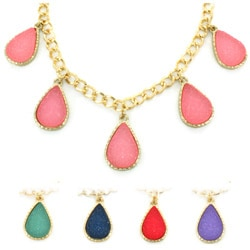 West Coast Jewelry Goldtone Faux Druzy Teardrop Charm Necklace