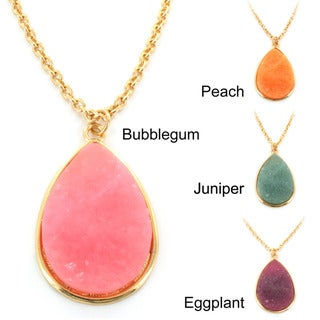 Goldtone Faux Druzy Teardrop Charm Necklace